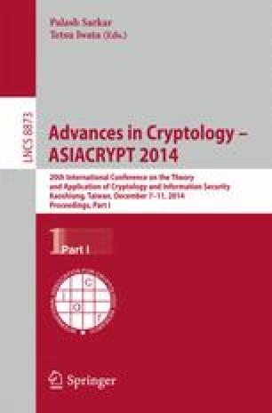 Advances in Cryptology – ASIACRYPT 2014