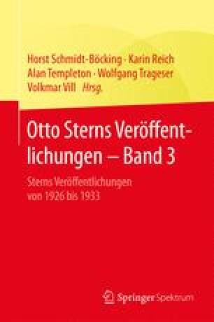 Otto Sterns Veröffentlichungen – Band 3