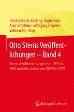Otto Sterns Veröffentlichungen – Band 4