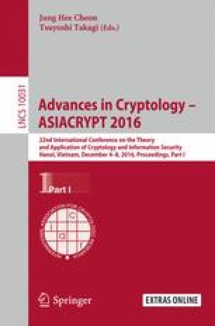 Advances in Cryptology – ASIACRYPT 2016