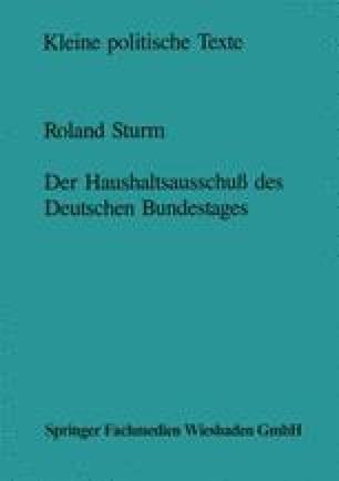 Der Haushaltsausschuß des Deutschen Bundestages