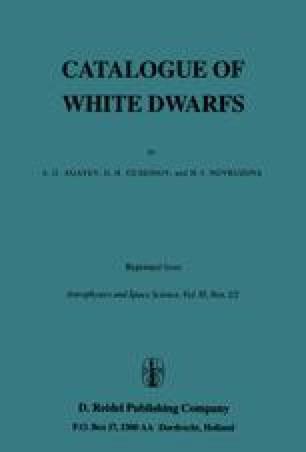 Catalogue of White Dwarfs