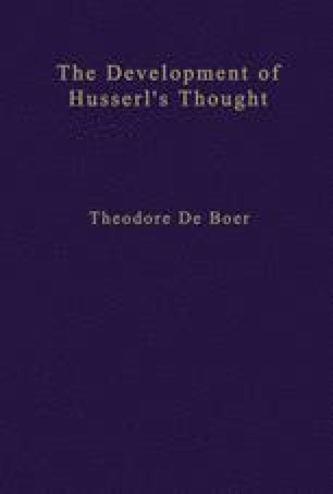 The Development of Husserl's Thought