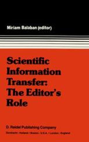 Scientific Information Transfer: The Editor's Role