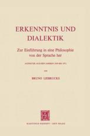 Erkenntnis und Dialektik