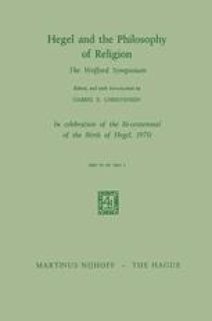 Hegel and the Philosophy of Religion