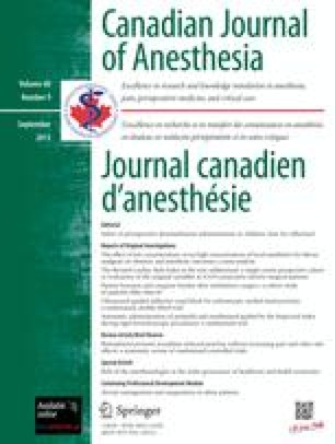 Canadian Journal of Anaesthesia