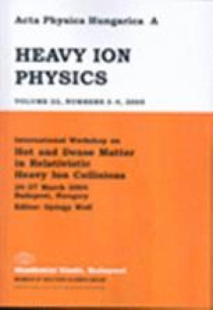 Acta Physica Hungarica A) Heavy Ion Physics