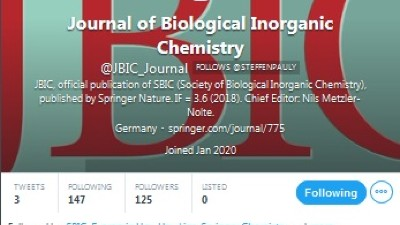 Screenshot of the Twitter account for JBIC Journal of Biological Inorganic Chemistry
