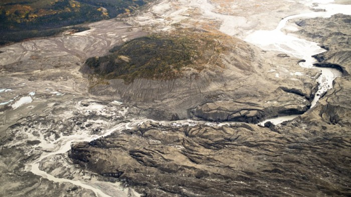 This channel in Canada's Kaskawulsh glacier has rerouted meltwater from one river system to another one.
