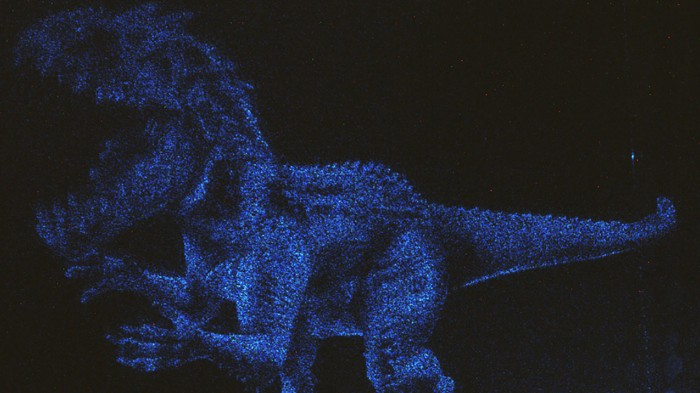This holographic image of a fictional dinosaur from the movie Jurassic World was made using a nanometre-scale quantum material.
