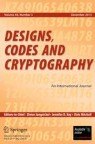 Front cover of Designs, Codes and Cryptography
