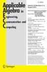 Front cover of Applicable Algebra in Engineering, Communication and Computing